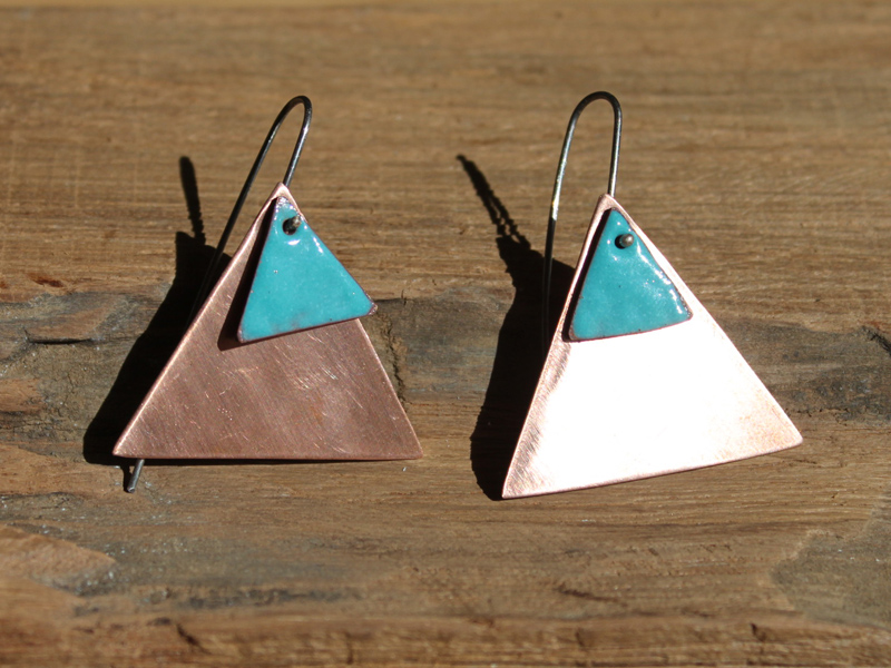 Sapphire blue enamel and copper earrings